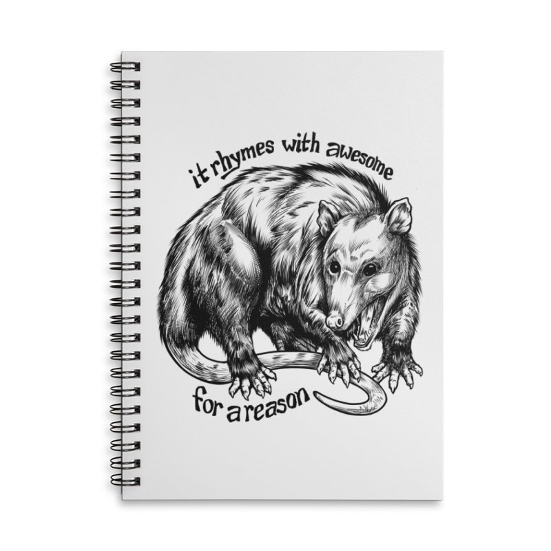 Awesome Possum (Low Key) Accessories Lined Spiral Notebook by Octophant's Artist Shop