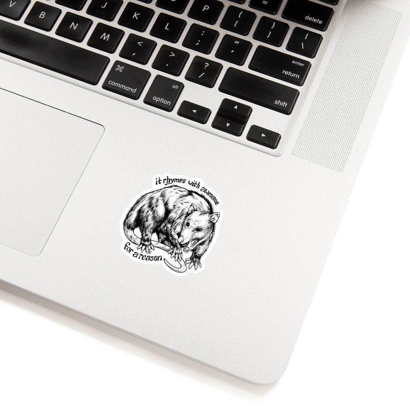 Awesome Possum (Low Key) in White Sticker by Octophant's Artist Shop