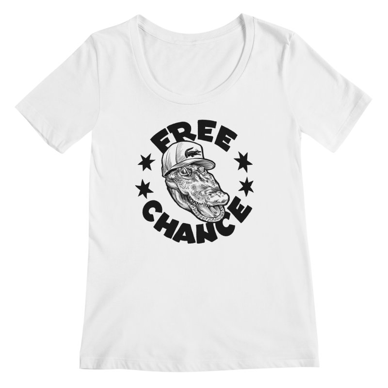 Free Chance (Black Print) Women's Regular Scoop Neck by Octophant's Artist Shop