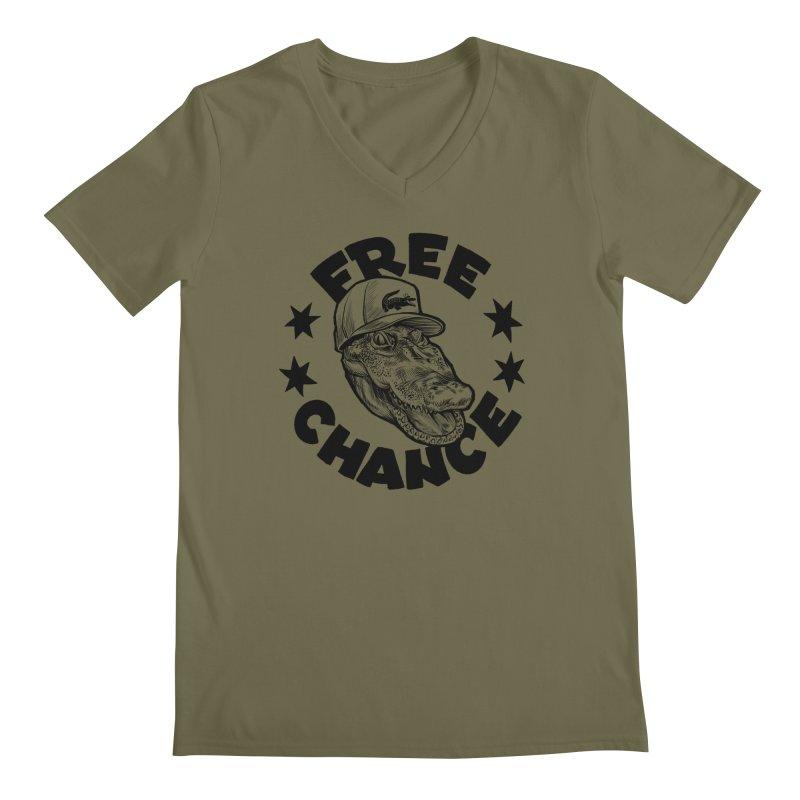 Free Chance (Black Print) Men's Regular V-Neck by Octophant's Artist Shop