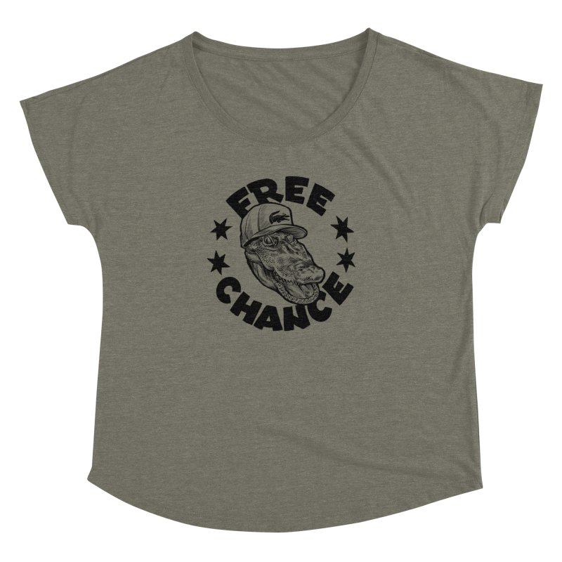 Free Chance (Black Print) Women's Dolman Scoop Neck by Octophant's Artist Shop