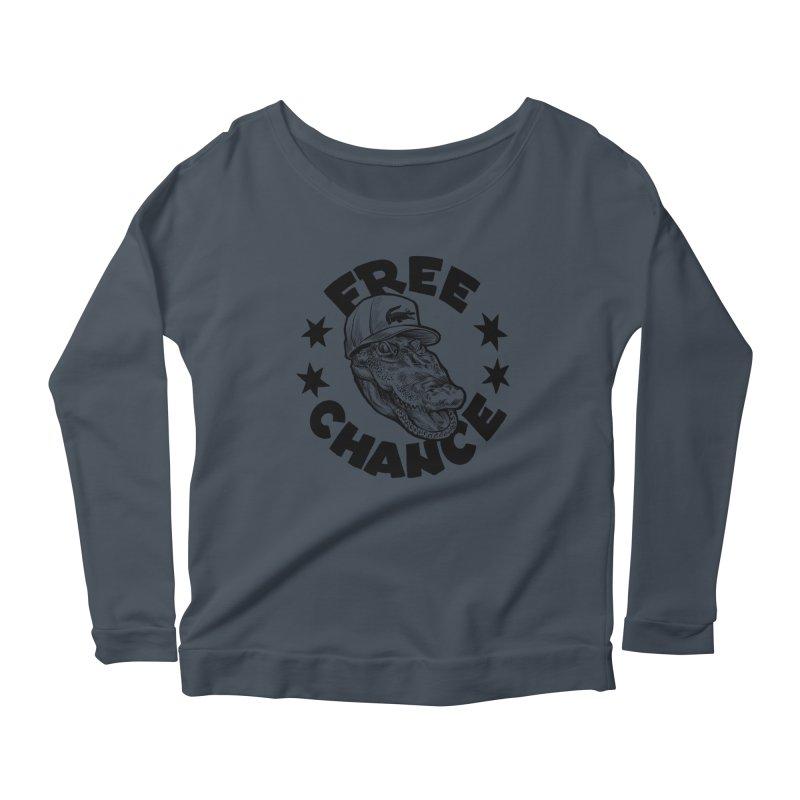 Free Chance (Black Print) Women's Scoop Neck Longsleeve T-Shirt by Octophant's Artist Shop