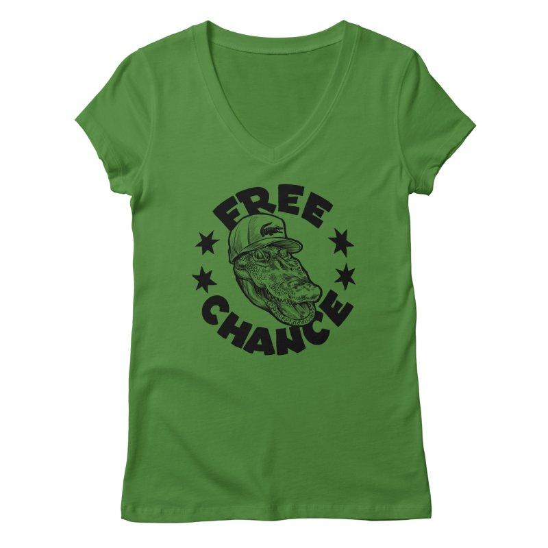 Free Chance (Black Print) Women's Regular V-Neck by Octophant's Artist Shop