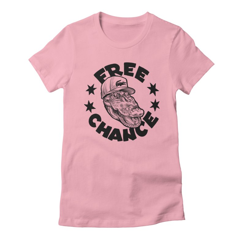Free Chance (Black Print) Women's Fitted T-Shirt by Octophant's Artist Shop
