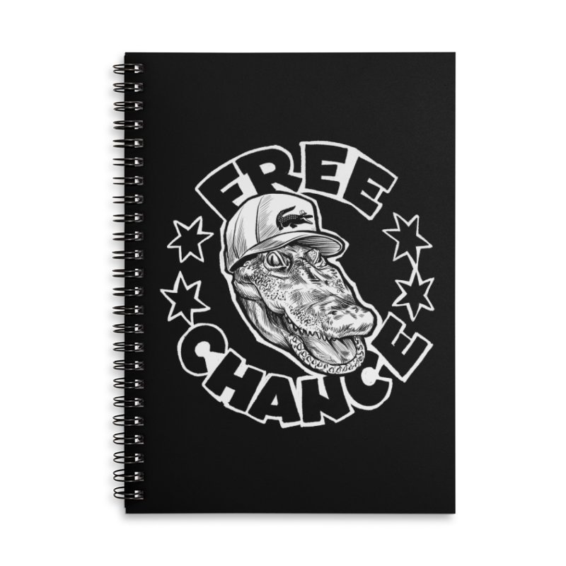 Free Chance (White Print) Accessories Lined Spiral Notebook by Octophant's Artist Shop