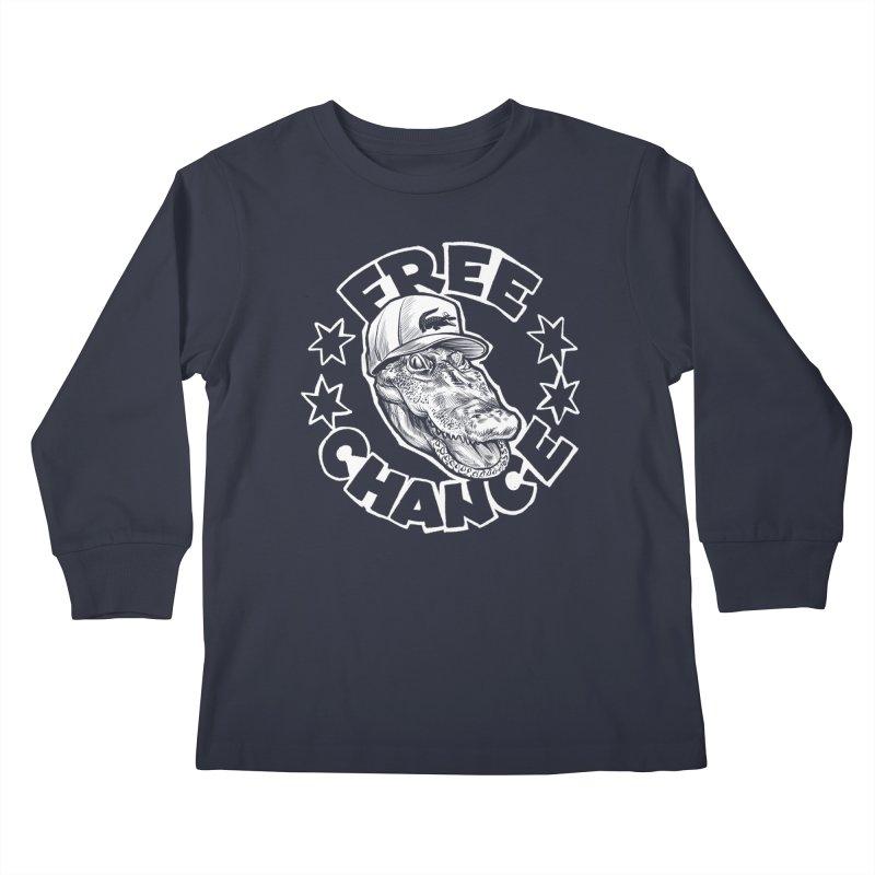 Free Chance (White Print) Kids Longsleeve T-Shirt by Octophant's Artist Shop