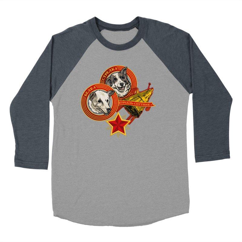Belka & Strelka Men's Baseball Triblend Longsleeve T-Shirt by Octophant's Artist Shop