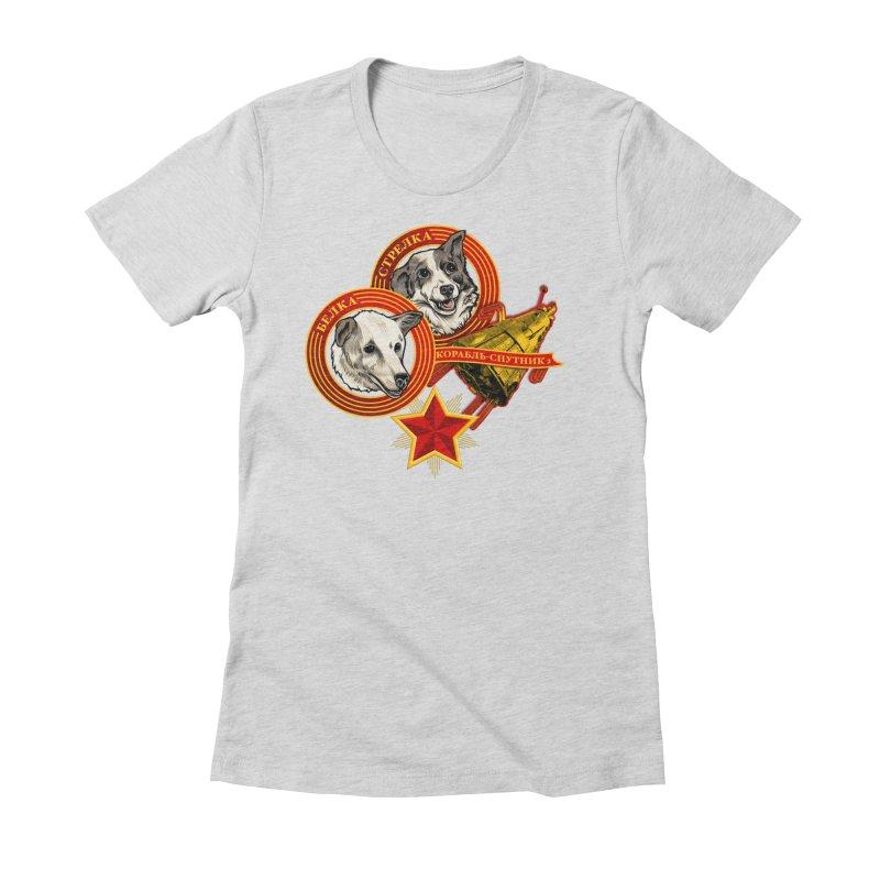 Belka & Strelka Women's Fitted T-Shirt by Octophant's Artist Shop