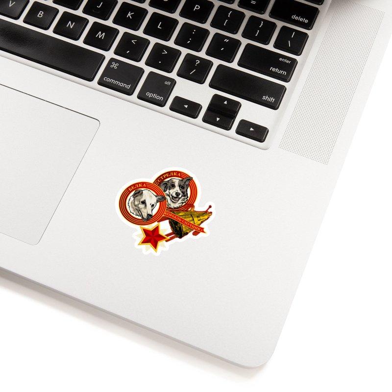 Belka & Strelka in White Sticker by Octophant's Artist Shop