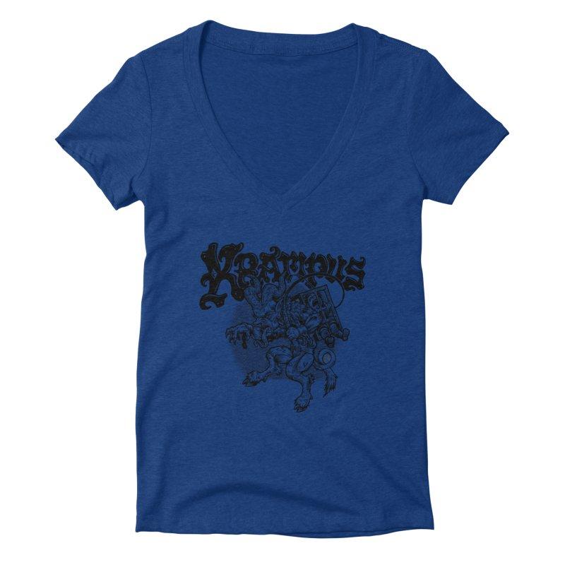 Krampus (Black Print) Women's Deep V-Neck V-Neck by Octophant's Artist Shop