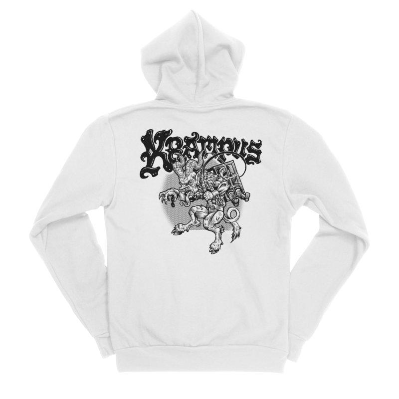 Krampus (Black Print) Women's Sponge Fleece Zip-Up Hoody by Octophant's Artist Shop