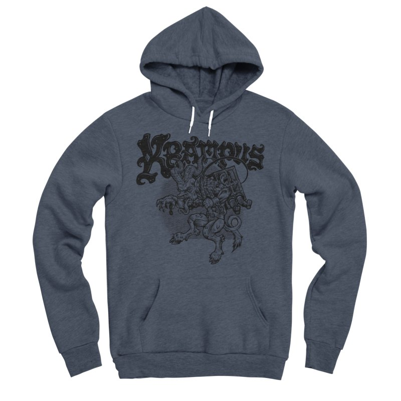 Krampus (Black Print) Men's Sponge Fleece Pullover Hoody by Octophant's Artist Shop