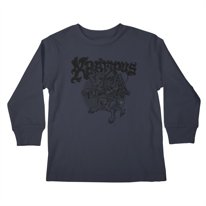 Krampus (Black Print) Kids Longsleeve T-Shirt by Octophant's Artist Shop