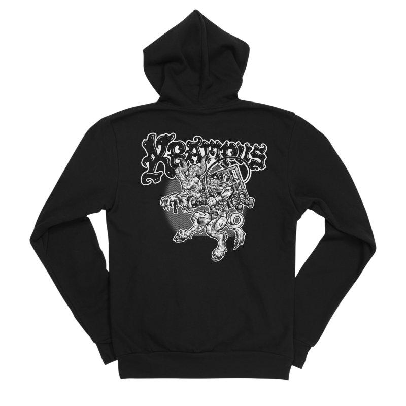 Krampus (White Print) Women's Sponge Fleece Zip-Up Hoody by Octophant's Artist Shop