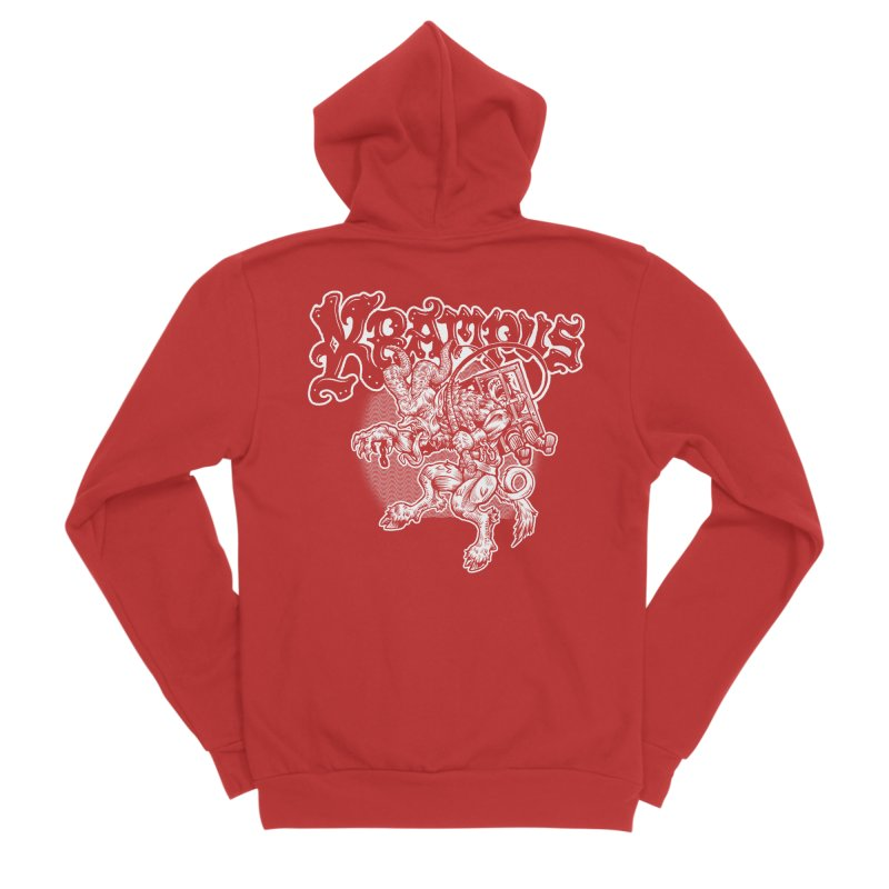Krampus (White Print) Men's Zip-Up Hoody by Octophant's Artist Shop