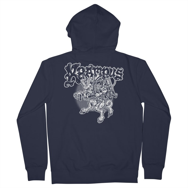 Krampus (White Print) Women's French Terry Zip-Up Hoody by Octophant's Artist Shop