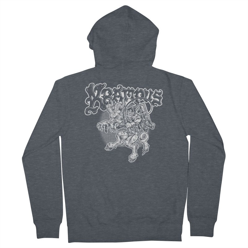 Krampus (White Print) Men's French Terry Zip-Up Hoody by Octophant's Artist Shop