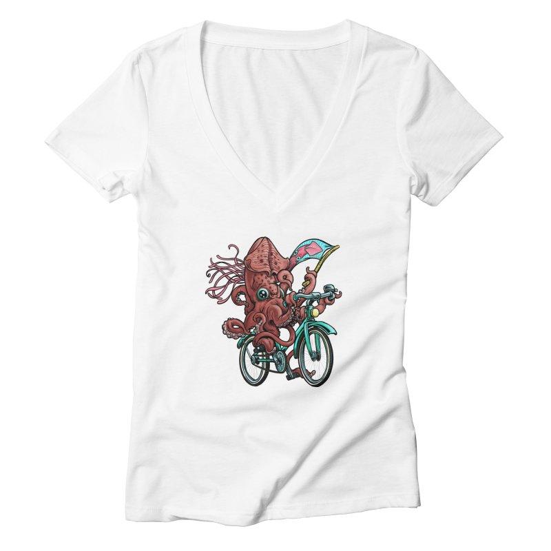 Fixie Squid Women's Deep V-Neck V-Neck by Octophant's Artist Shop