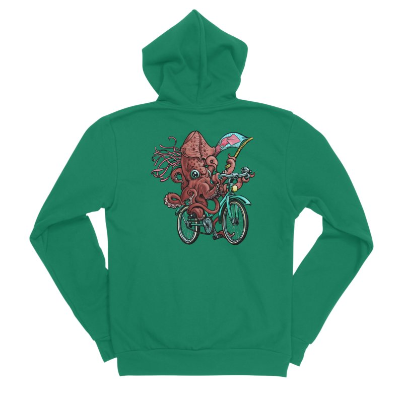 Fixie Squid Men's Sponge Fleece Zip-Up Hoody by Octophant's Artist Shop
