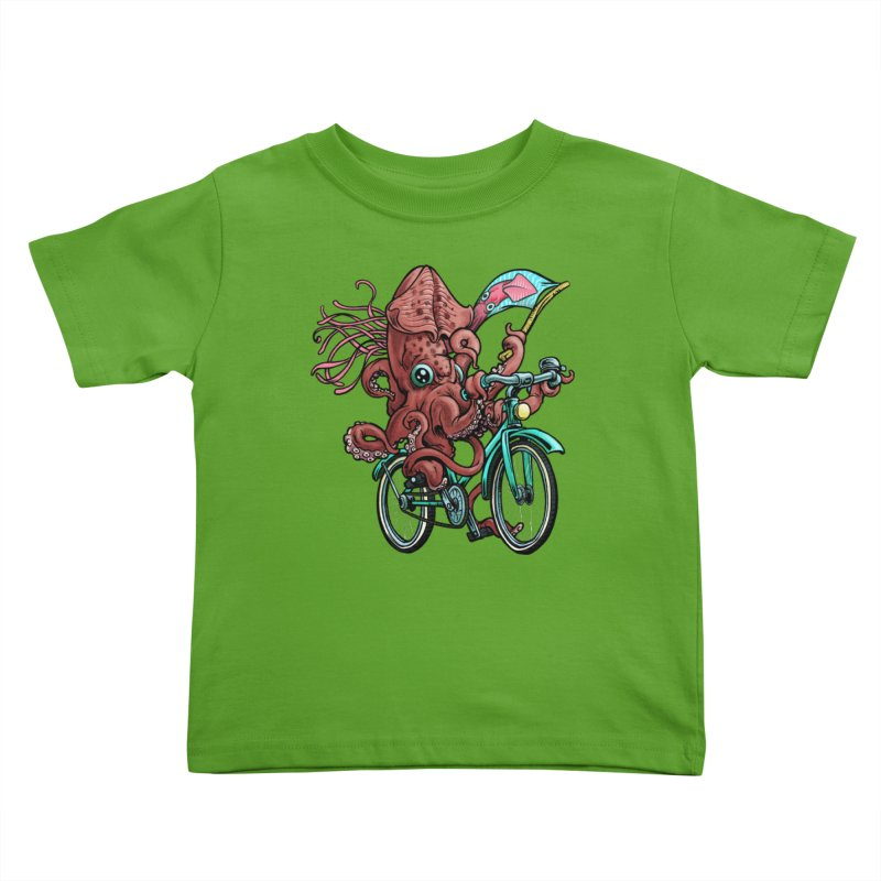 Fixie Squid Kids Toddler T-Shirt by Octophant's Artist Shop