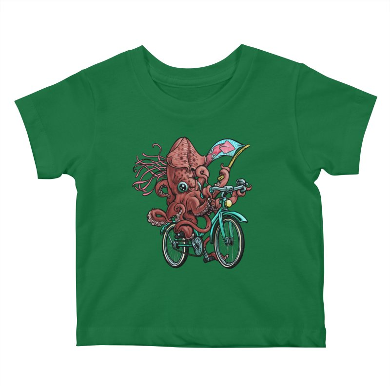 Fixie Squid Kids Baby T-Shirt by Octophant's Artist Shop