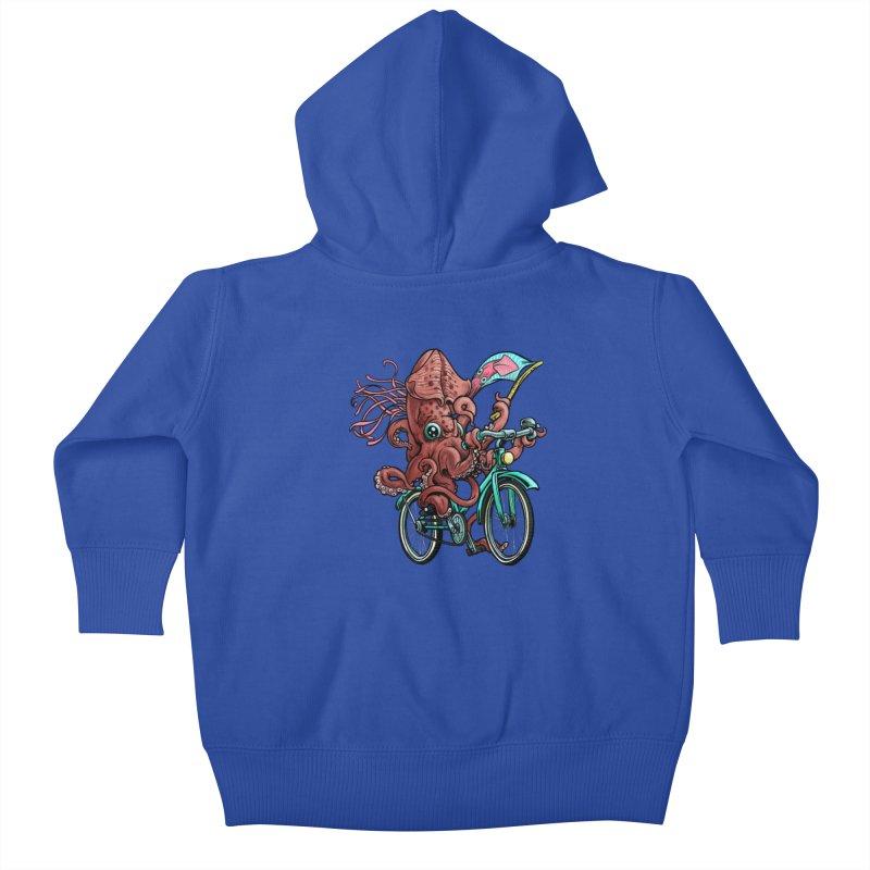 Fixie Squid Kids Baby Zip-Up Hoody by Octophant's Artist Shop
