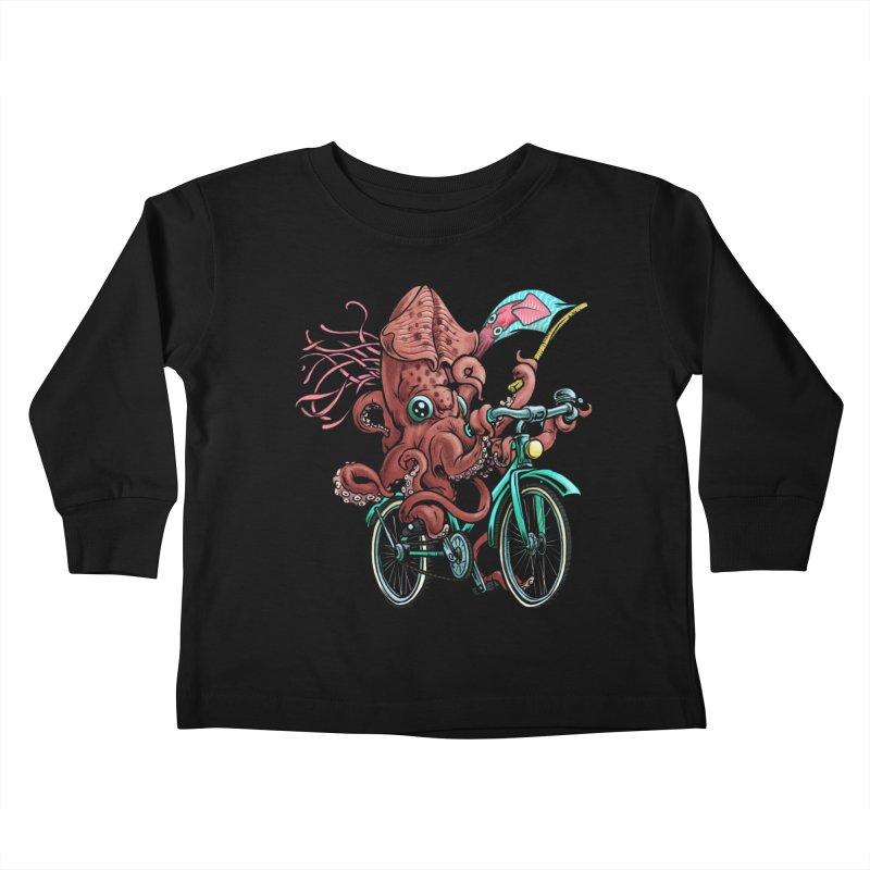 Fixie Squid Kids Toddler Longsleeve T-Shirt by Octophant's Artist Shop