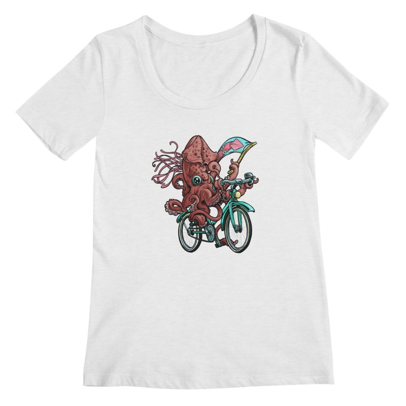 Fixie Squid Women's Regular Scoop Neck by Octophant's Artist Shop