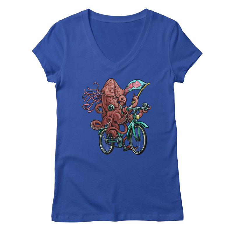 Fixie Squid Women's Regular V-Neck by Octophant's Artist Shop
