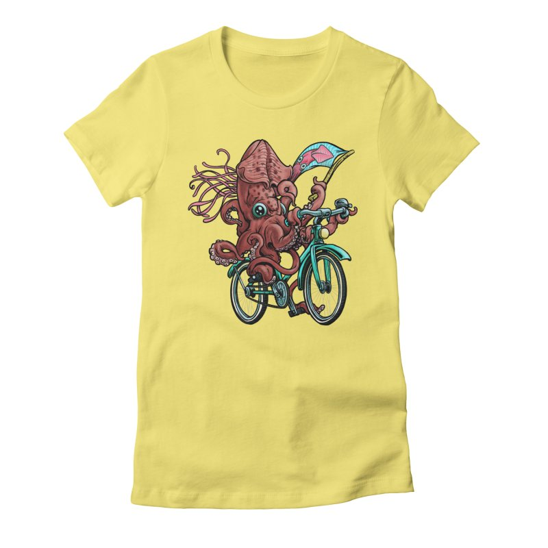 Fixie Squid Women's Fitted T-Shirt by Octophant's Artist Shop