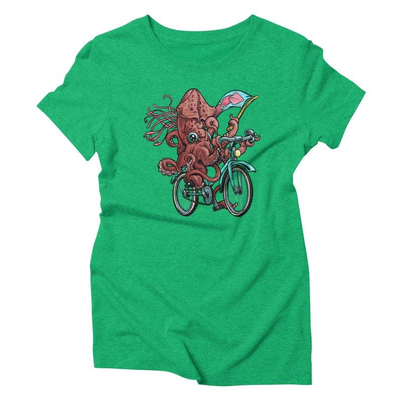 Fixie Squid Women's Triblend T-Shirt by Octophant's Artist Shop