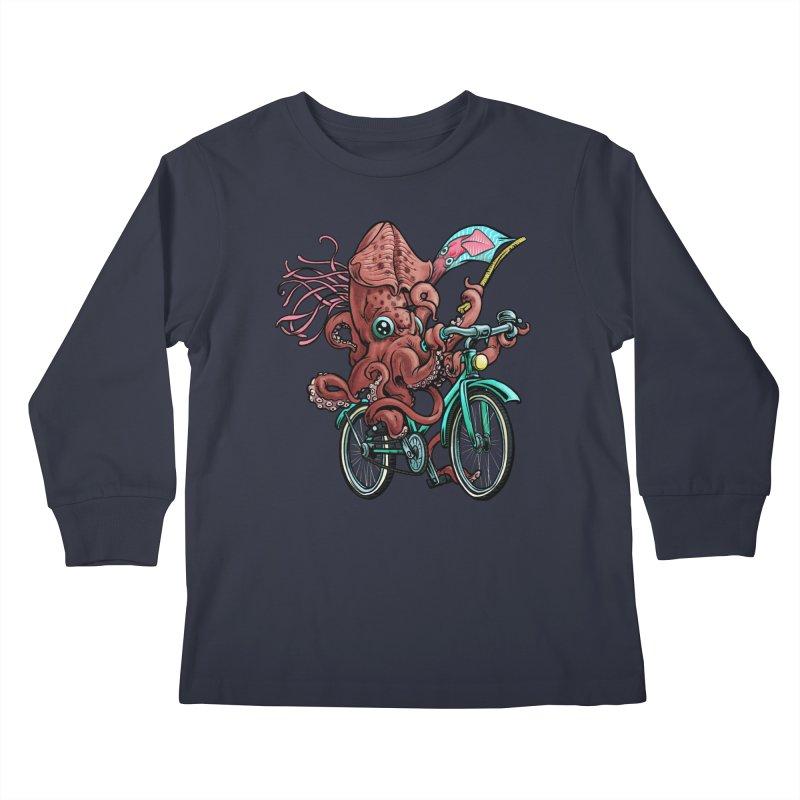 Fixie Squid Kids Longsleeve T-Shirt by Octophant's Artist Shop