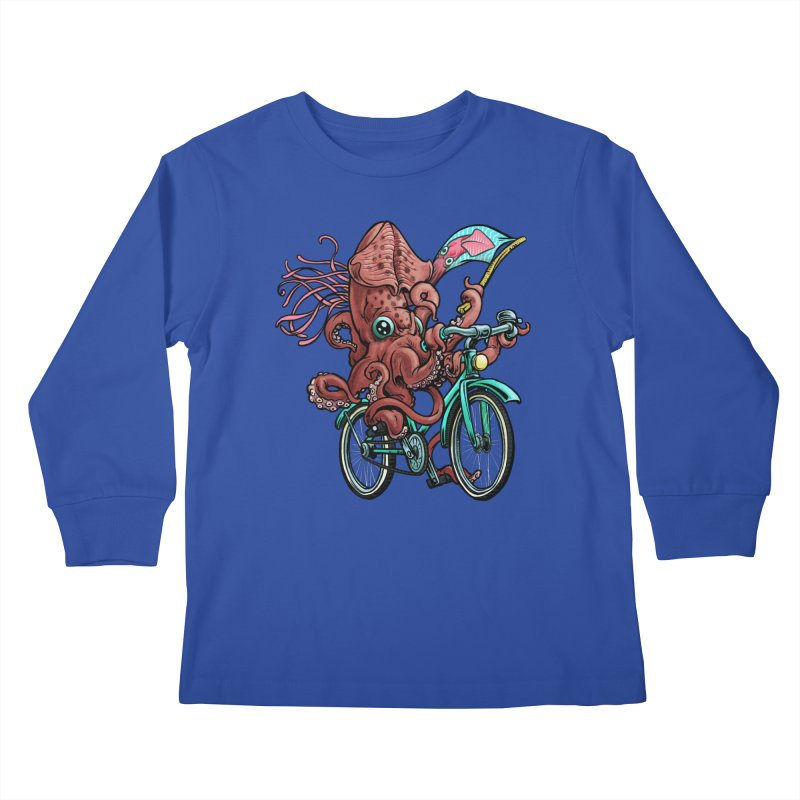 Fixie Squid Kids Longsleeve T-Shirt by Octophant's Artist Shop
