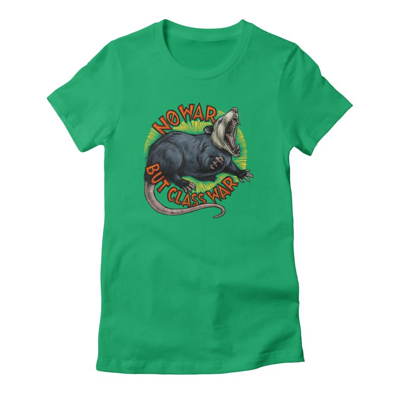 Class War Possum Women's Fitted T-Shirt by Octophant's Artist Shop