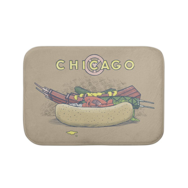 Chicago Dog with Everything Home Bath Mat by Octophant's Artist Shop
