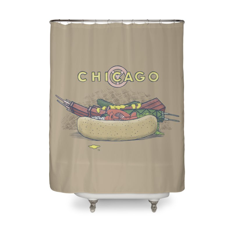 Chicago Dog with Everything Home Shower Curtain by Octophant's Artist Shop
