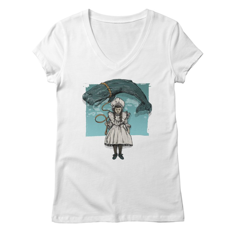 My Pet Whale Women's V-Neck by Octophant's Artist Shop