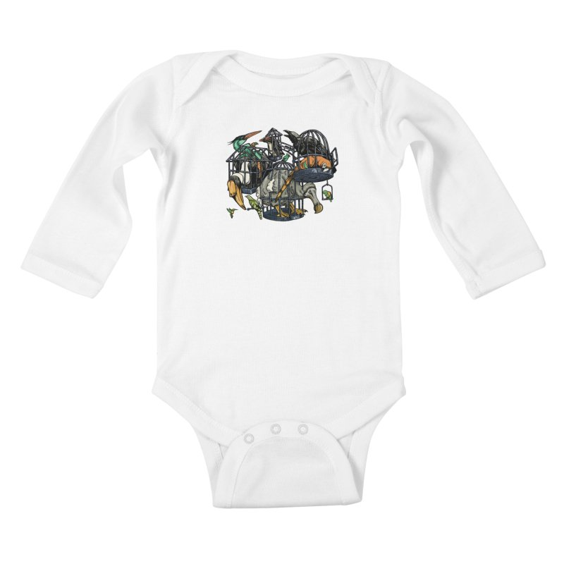 The Aviary Kids Baby Longsleeve Bodysuit by Octophant's Artist Shop
