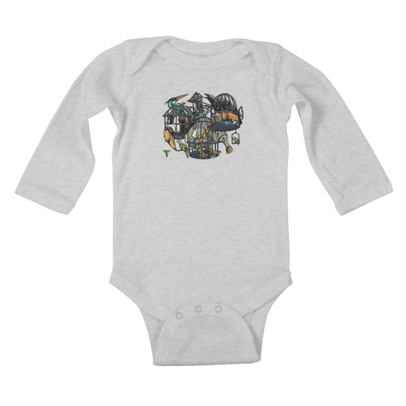 The Aviary Kids Baby Longsleeve Bodysuit by Octophant's Artist Shop
