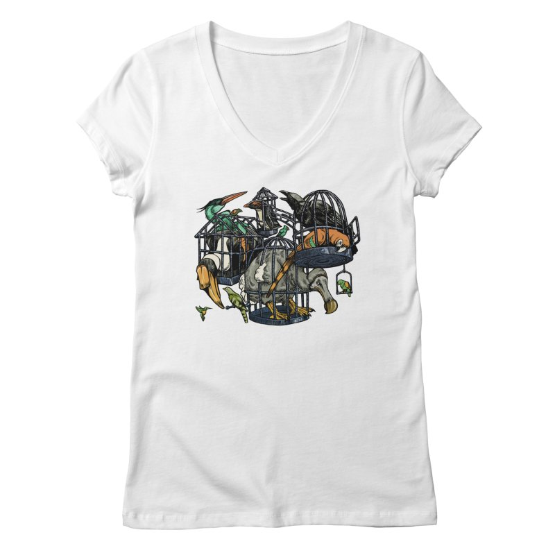 The Aviary Women's V-Neck by Octophant's Artist Shop