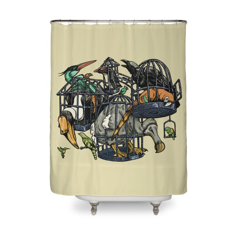 The Aviary Home Shower Curtain by Octophant's Artist Shop