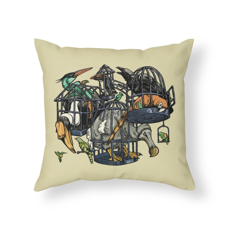 The Aviary Home Throw Pillow by Octophant's Artist Shop