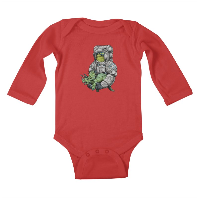 Astro Dino Kids Baby Longsleeve Bodysuit by Octophant's Artist Shop