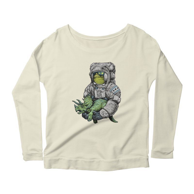 Astro Dino Women's Longsleeve Scoopneck  by Octophant's Artist Shop