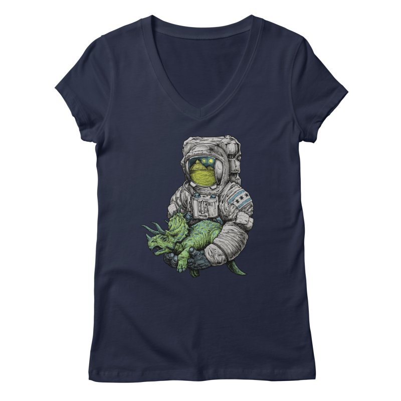 Astro Dino Women's V-Neck by Octophant's Artist Shop