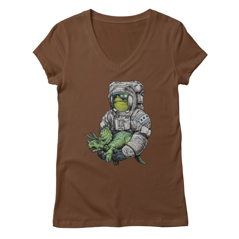 Astro Dino Women's Regular V-Neck by Octophant's Artist Shop