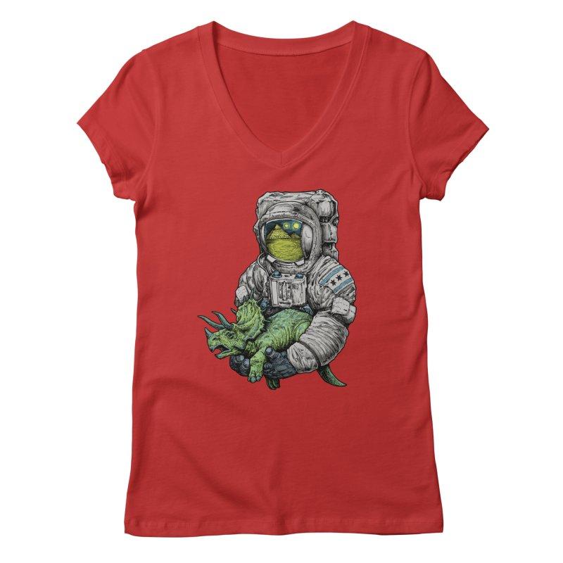 Astro Dino Women's V-Neck by Octophant's Artist Shop