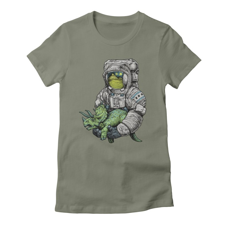 Astro Dino Women's Fitted T-Shirt by Octophant's Artist Shop