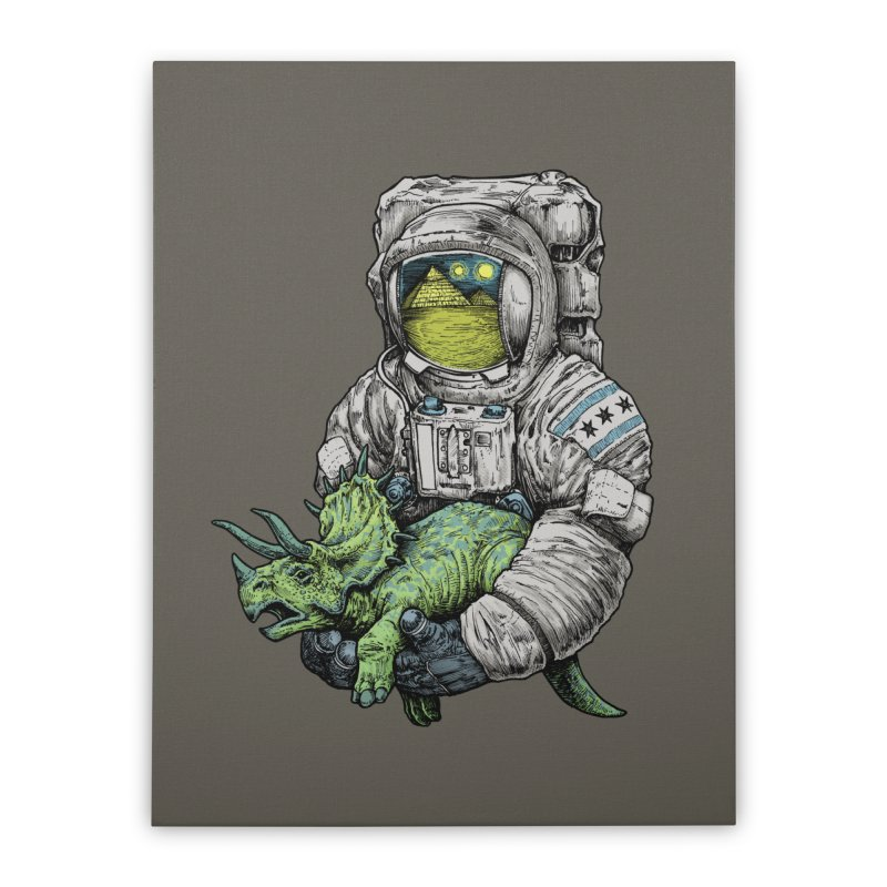 Astro Dino Home Stretched Canvas by Octophant's Artist Shop