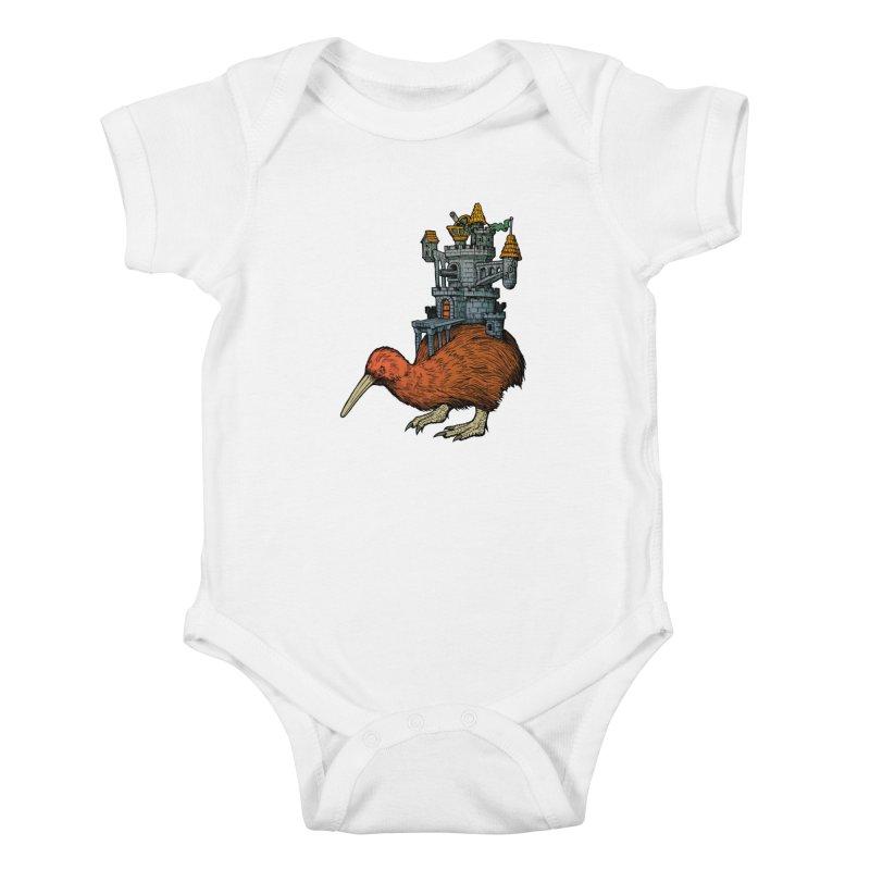 Kiwi Castle Kids Baby Bodysuit by Octophant's Artist Shop